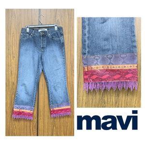 Mavi Vintage Snake Print Beaded Fringe Crop Jeans